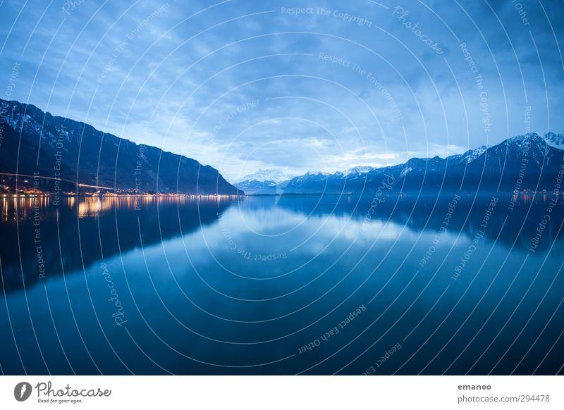 lac leman Himmel Natur blau Ferien & Urlaub & Reisen Wasser Wolken Landschaft Winter dunkel Berge u. Gebirge kalt Schnee Küste See Wetter glänzend