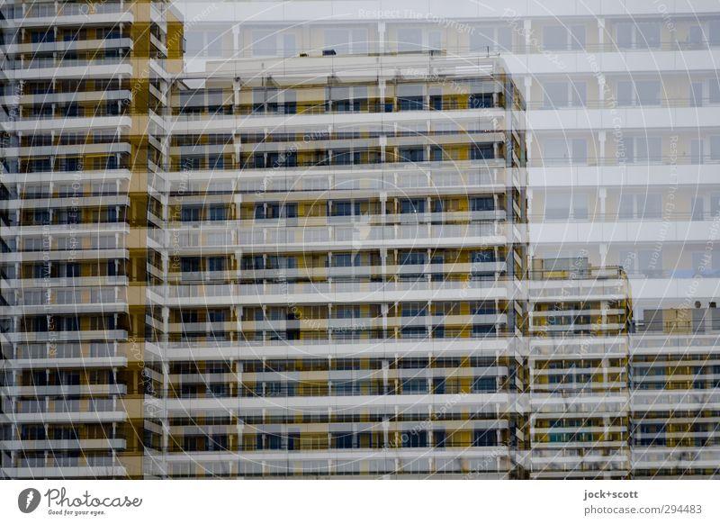 doppelte Tristesse Ferne kalt Architektur Gebäude Stil Linie oben Fassade trist Hochhaus Perspektive Beton Streifen Vergänglichkeit nah Irritation