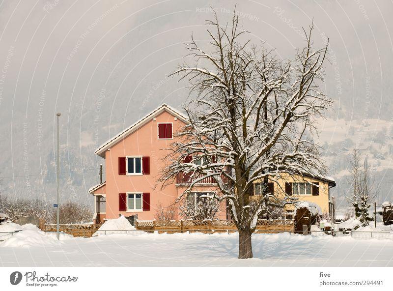 . Natur Himmel Wolken Winter Schnee Pflanze Baum Wiese Dorf Haus Einfamilienhaus Mauer Wand Fassade Balkon Fenster Tür Dach kalt Farbfoto Außenaufnahme Licht
