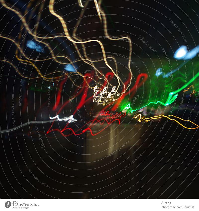 Stromlinien Nachtleben Straßenverkehr Verkehr Stadt Stadtzentrum Straßenbeleuchtung Fahrzeug Linie fahren mehrfarbig gold grün rot schwarz Bewegung