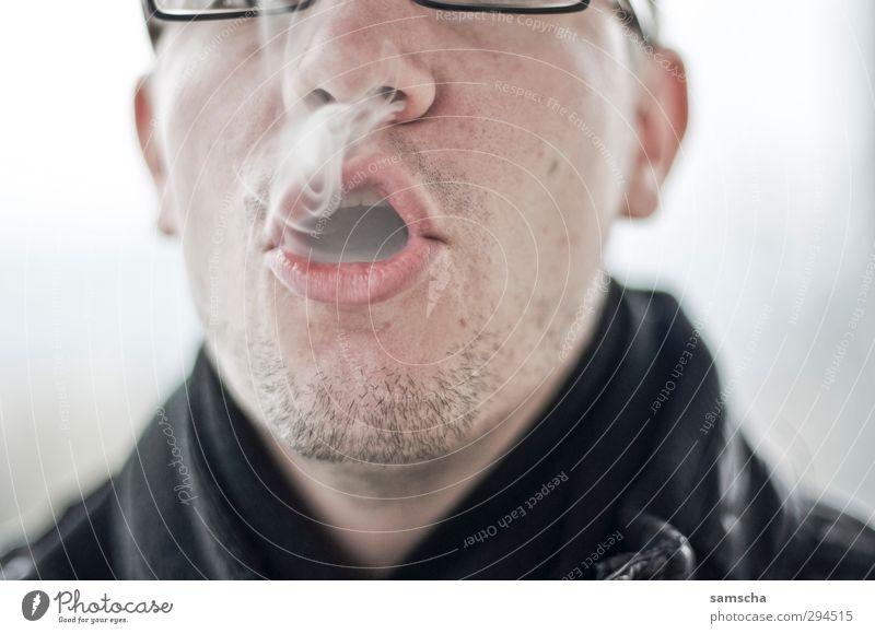 Rauchgenuss Rauchen Mensch maskulin Mann Erwachsene Kopf Gesicht Nase Mund 1 kalt rauchend Zigarette Zigarettenrauch atmen Lippen genießen Genusssucht Sucht