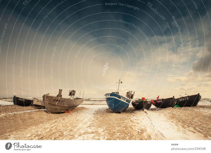 Klar Schiff! Himmel Natur Ferien & Urlaub & Reisen alt Meer Einsamkeit Landschaft ruhig Winter Strand Ferne Schnee Freiheit Küste Sand Horizont