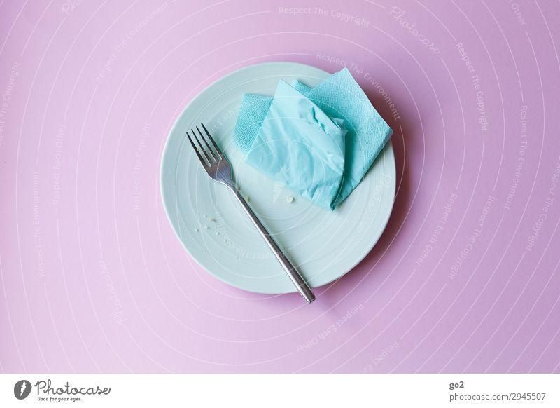 Leerer Teller Ernährung Frühstück Mittagessen Abendessen Geschirr Besteck Gabel Häusliches Leben Serviette Essen lecker Appetit & Hunger Ende genießen