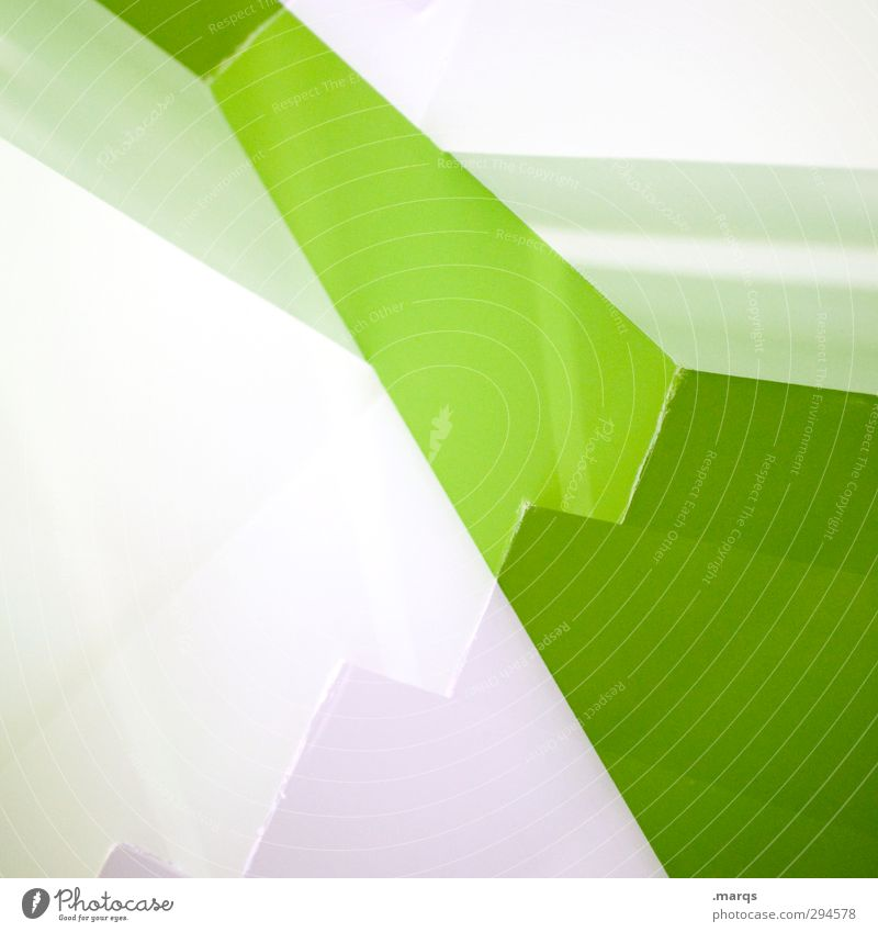 Treppe Lifestyle elegant Stil Design Innenarchitektur Kunst Architektur Streifen außergewöhnlich eckig trendy einzigartig modern verrückt grün weiß ästhetisch