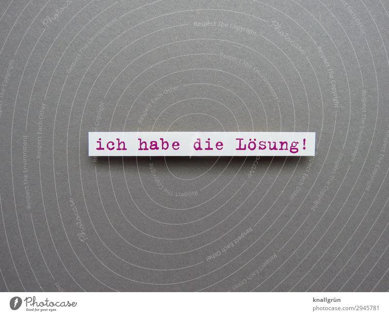 ich habe die Lösung! Schriftzeichen Schilder & Markierungen Kommunizieren grau rot weiß Gefühle Freude Zufriedenheit Erfolg Neugier entdecken Hoffnung Idee