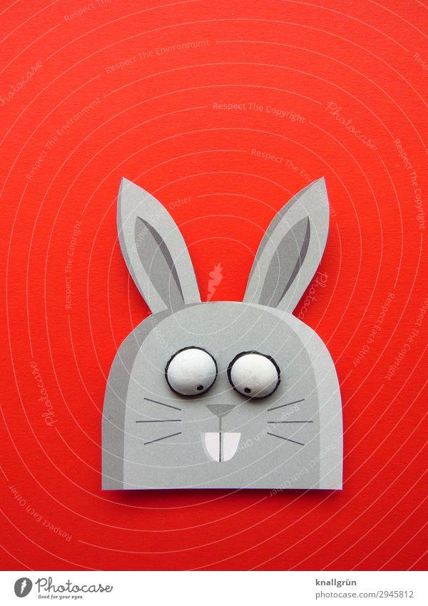 Hasenmädchen Tier Hase & Kaninchen 1 Papier lustig Freude Kreativität Hasenohren Hasenzahn Farbfoto Studioaufnahme Menschenleer Textfreiraum links