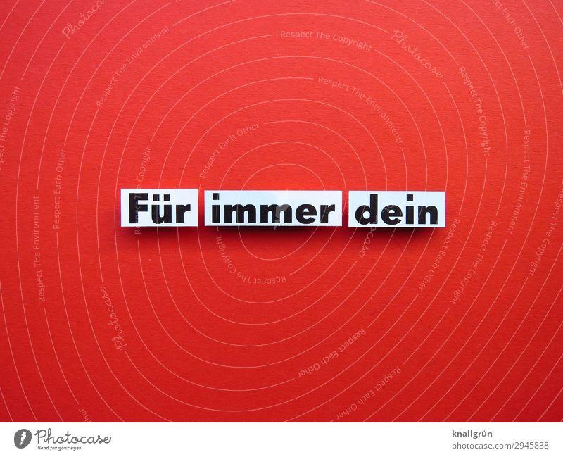 Für immer dein Schriftzeichen Schilder & Markierungen Kommunizieren Liebe Glück rot schwarz weiß Gefühle Lebensfreude Sympathie Freundschaft Zusammensein