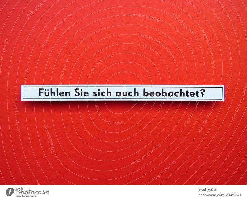 Fühlen Sie sich auch beobachtet? Schriftzeichen Schilder & Markierungen beobachten Kommunizieren Blick rot schwarz weiß Gefühle Wachsamkeit Neugier Interesse
