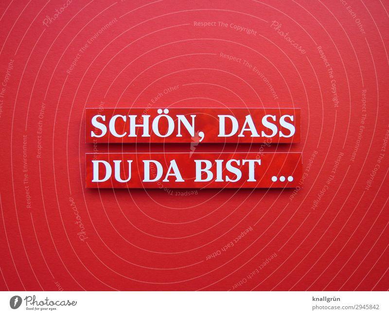 SCHÖN, DASS DU DA BIST ... Schriftzeichen Schilder & Markierungen Kommunizieren Freundlichkeit rot weiß Gefühle Stimmung Freude Glück Zufriedenheit Geborgenheit
