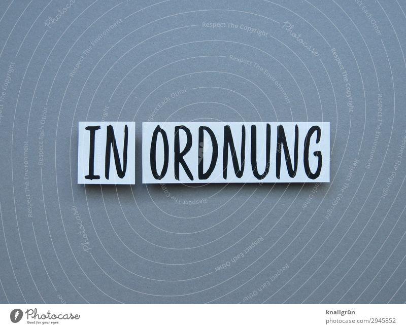 In Ordnung Akzeptanz Zufriedenheit Einverständnis Zustimmung Erwartung Buchstaben Wort Satz Letter Typographie Text Schriftzeichen Sprache Kommunizieren