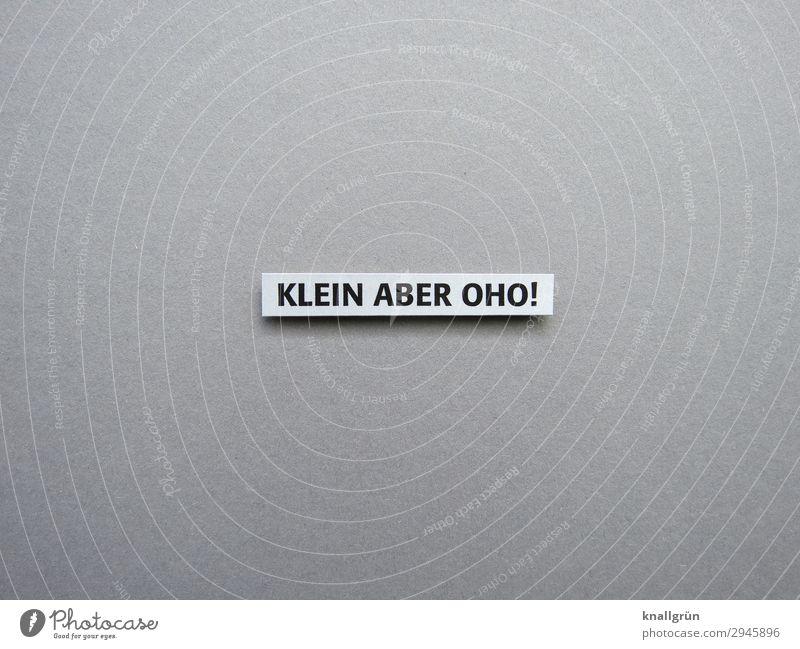 Klein aber oho! unterschätzt Energie Power Kraft Erwartung Buchstaben Wort Satz Letter Sprache Typographie Text Schriftzeichen Lateinisches Alphabet Schriftbild
