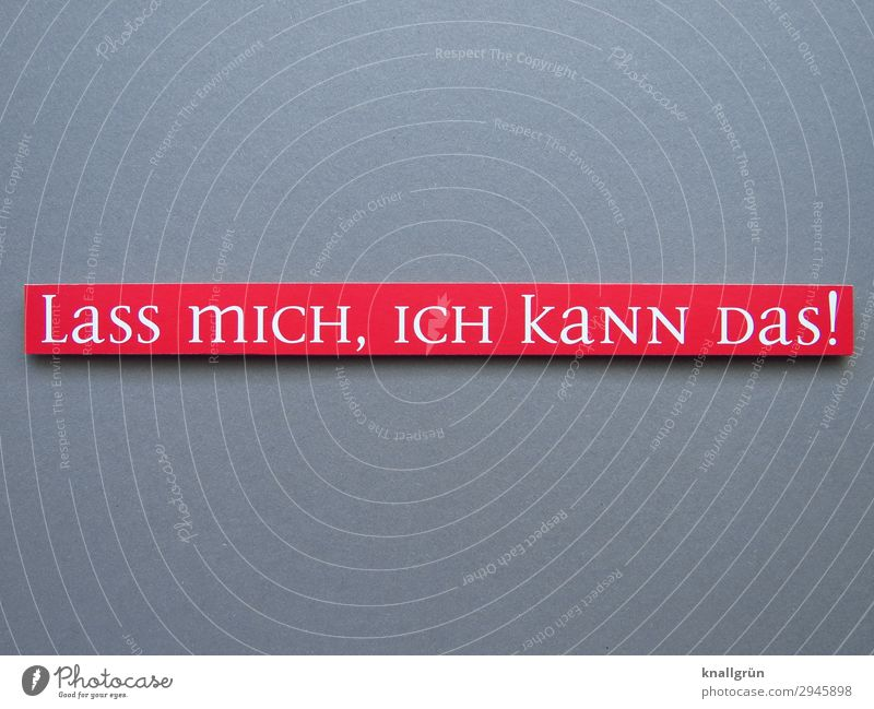 LaSS mICH, ICH kaNN DaS! Schriftzeichen Schilder & Markierungen Kommunizieren machen grau rot weiß Gefühle selbstbewußt Optimismus Erfolg Mut Tatkraft