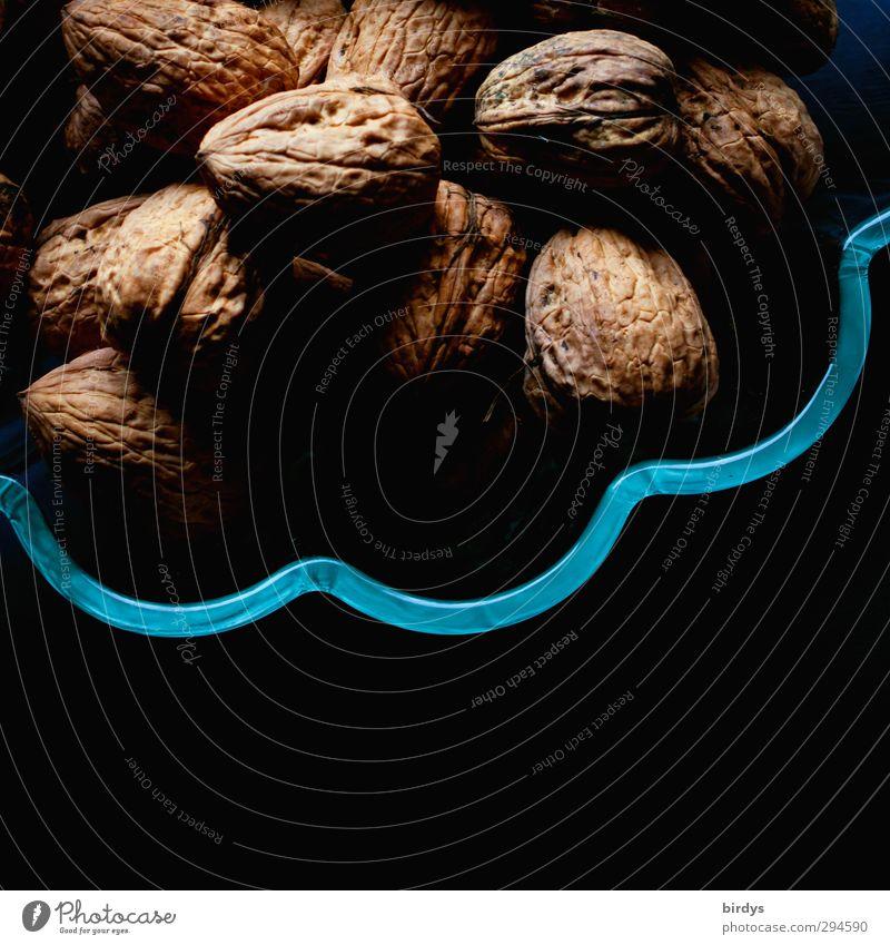 Walnüsse Lebensmittel Walnuss Nuss Bioprodukte Vegetarische Ernährung Gesunde Ernährung Schalen & Schüsseln ästhetisch positiv blau braun schwarz rein
