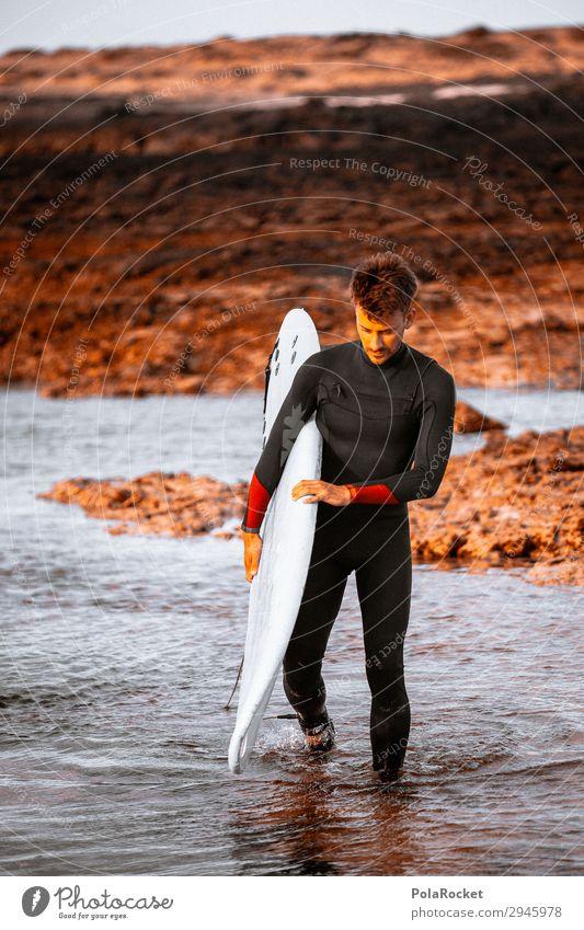 #A# Going In Kunst Kunstwerk ästhetisch Surfen Surfer Surfbrett Surfschule Sport Wassersport Extremsport Mann maskulin Farbfoto Gedeckte Farben Außenaufnahme