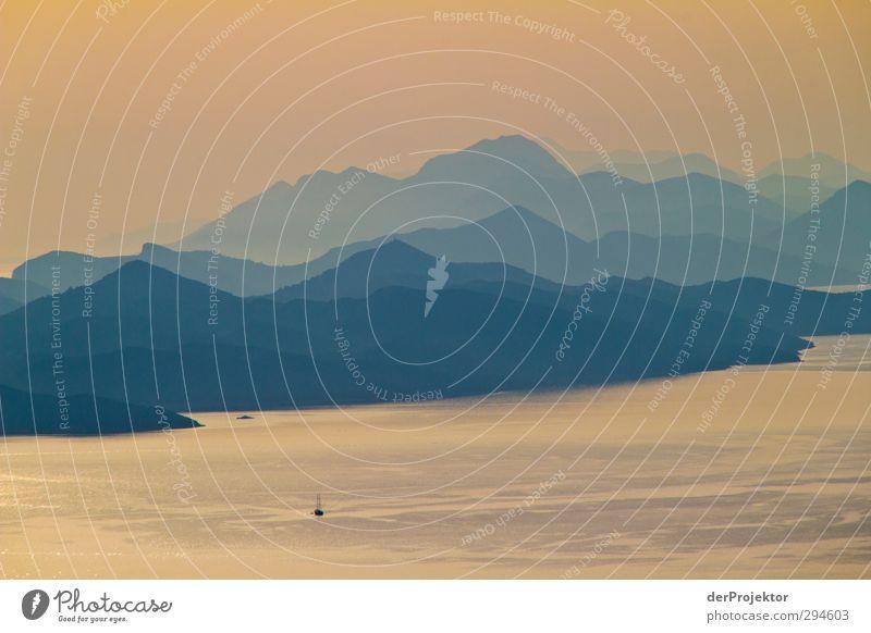 Bucht von Dubrovnik Umwelt Natur Landschaft Pflanze Urelemente Wasser Himmel Sonne Sonnenaufgang Sonnenuntergang Sonnenlicht Sommer Schönes Wetter Gipfel Küste