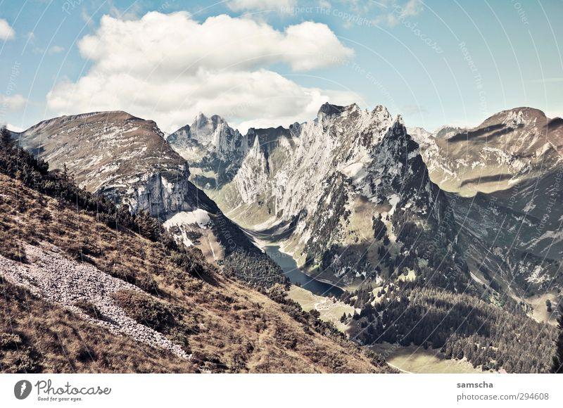 Alpstein Ferien & Urlaub & Reisen Tourismus Ausflug Sommer Berge u. Gebirge Umwelt Natur Landschaft Himmel Wolken Felsen Alpen Gipfel Ferne hoch natürlich wild