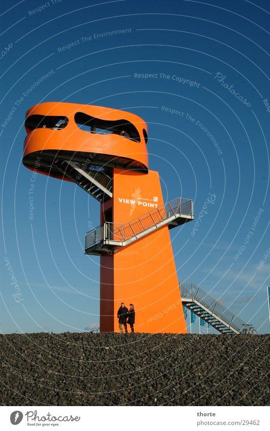 Godzillas Sohn blau orange Architektur Hamburg Treppe Aussicht Medien Hafencity Godzilla