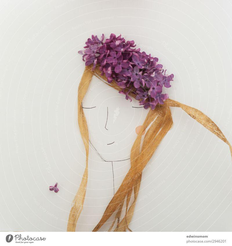 Frau Mai feminin Junge Frau Jugendliche Erwachsene Haare & Frisuren 1 Mensch Pflanze Frühling Blüte Fliederbusch Accessoire langhaarig Dekoration & Verzierung