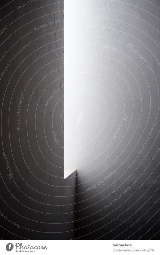unscharf | diffuses Licht Häusliches Leben Haus Mauer Wand Fassade Fenster Treppenhaus Stein Linie leuchten ästhetisch eckig elegant hell grau schwarz weiß