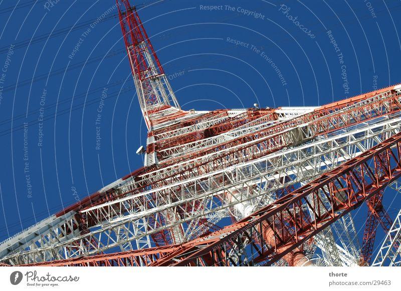 Hochspannung Himmel weiß blau rot Metall Elektrizität Technik & Technologie Gitter Norden Elektrisches Gerät
