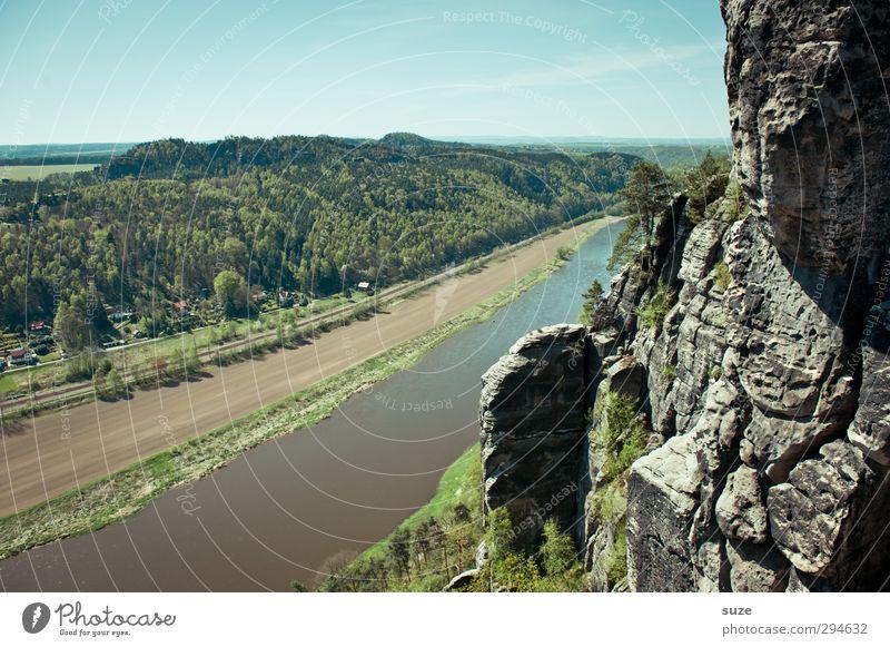 Elbelauf Berge u. Gebirge Umwelt Natur Landschaft Himmel Frühling Klima Schönes Wetter Wald Felsen Flussufer authentisch groß hoch natürlich wild blau grün
