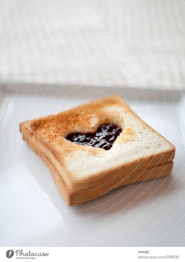 Jeder Tag, den ich mit dir beginne, ist schön. Marmelade Toastbrot Ernährung Frühstück Büffet Brunch Fingerfood lecker süß Herz Liebesbekundung Liebeserklärung