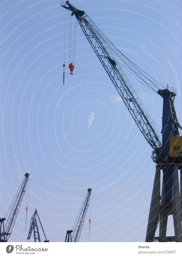 Kran Schifffahrt Hamburg Hafen Himmel blau