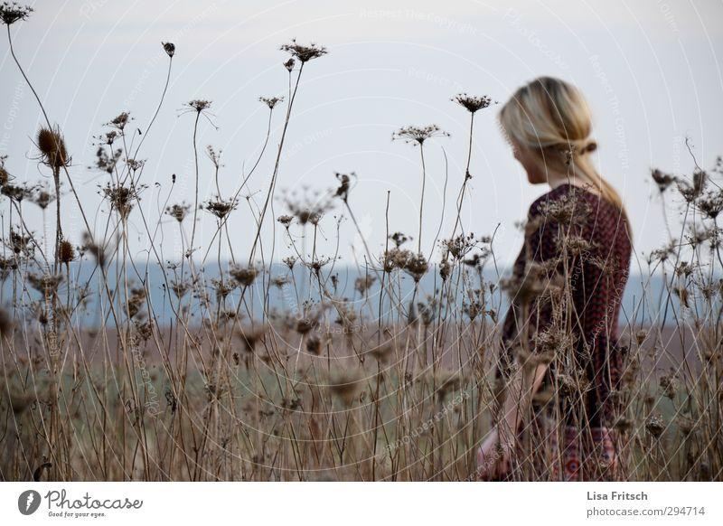 verträumt feminin Junge Frau Jugendliche 1 Mensch 18-30 Jahre Erwachsene Frühling Dürre Blume Feld blond schön Glück Zufriedenheit Frühlingsgefühle Frieden