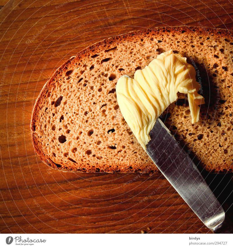 Brot + Butter Lebensmittel Belegtes Brot Ernährung Messer Holz streichen ästhetisch einfach lecker Originalität positiv braun gelb Appetit & Hunger genießen
