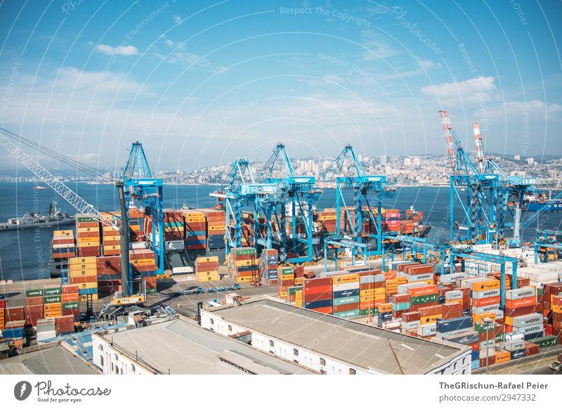 Valparaiso - Hafen Kleinstadt blau orange Valparaíso Hafenkran Container Containerschiff entladen Stadt Chile Meer Außenaufnahme Menschenleer Textfreiraum unten
