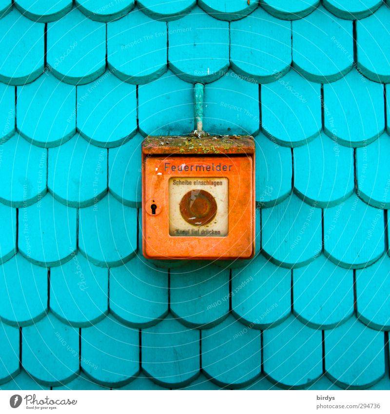 Feuermelder Feuerwehr Fassade Hinweisschild Warnschild ästhetisch Freundlichkeit positiv Wärme blau rot Mittelpunkt Rettung Schutz Überleben Stadt Warme Farbe