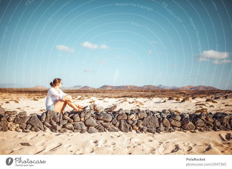 #A# far north Kunst Kunstwerk ästhetisch Mauer Fuerteventura Surfen Surfer Mädchen Frau Blick Blick nach hinten ruhig Idylle Konzentration Erholung Einsamkeit
