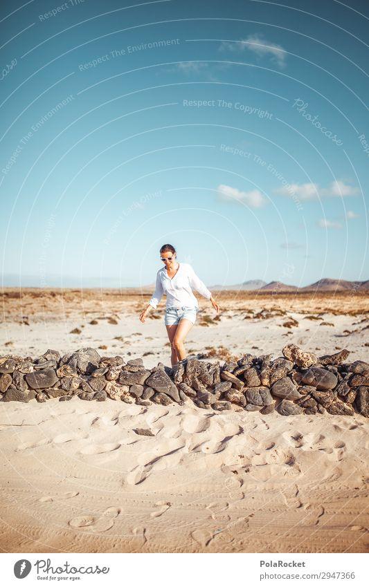 #A# Northern Walk Kunst Kunstwerk ästhetisch Mauer Spaziergang Fuerteventura Frau laufen Laufsport Ferien & Urlaub & Reisen Urlaubsfoto Urlaubsstimmung