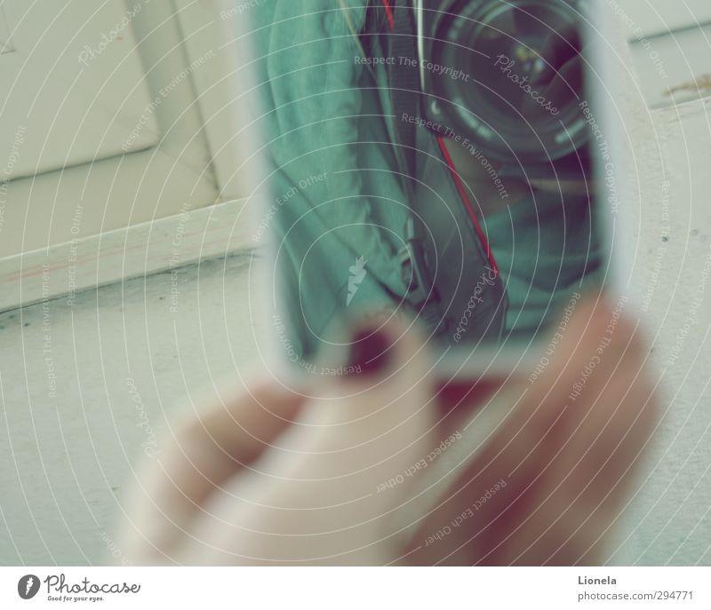 Spiegelfoto blau grün Spiegelreflexkamera Fotokamera Klarheit Unschärfe Suche Farbfoto Gedeckte Farben Tag
