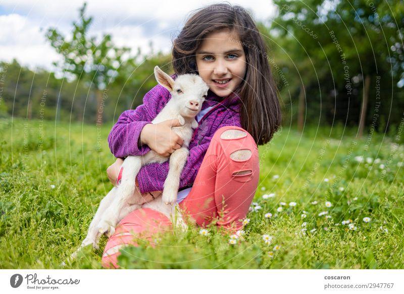 Kleines Mädchen umarmt eine Ziege auf einem Feld. Lifestyle Glück schön Freizeit & Hobby Spielen Ferien & Urlaub & Reisen Sommer Sommerurlaub Garten Kind Mensch