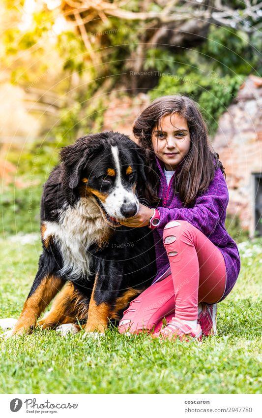 Kind Mensch Ferien & Urlaub & Reisen Natur Hund Sommer Pflanze schön weiß Sonne Tier Freude Mädchen Berge u. Gebirge schwarz Lifestyle