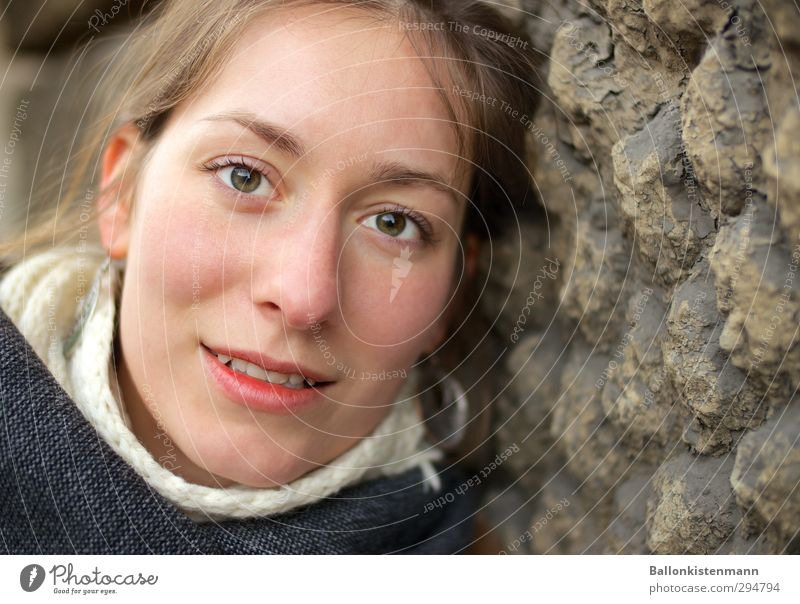 Augen blick. Mensch feminin Junge Frau Jugendliche 1 18-30 Jahre Erwachsene Lächeln Blick Freundlichkeit gut schön natürlich positiv weich Menschlichkeit