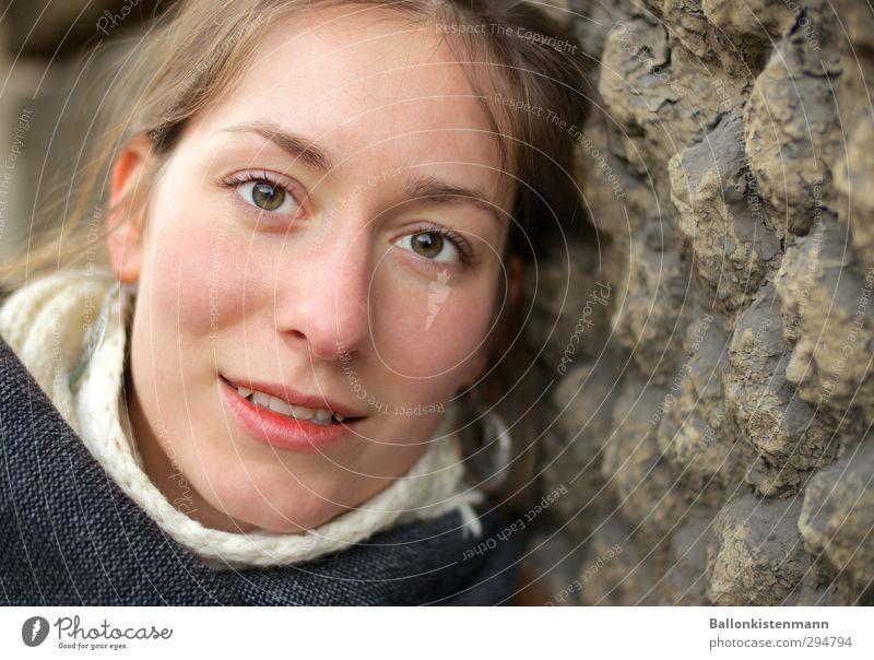 Augen blick. Mensch Jugendliche schön ruhig Junge Frau Erwachsene feminin 18-30 Jahre Glück natürlich Lächeln weich Hilfsbereitschaft Freundlichkeit gut Kontakt