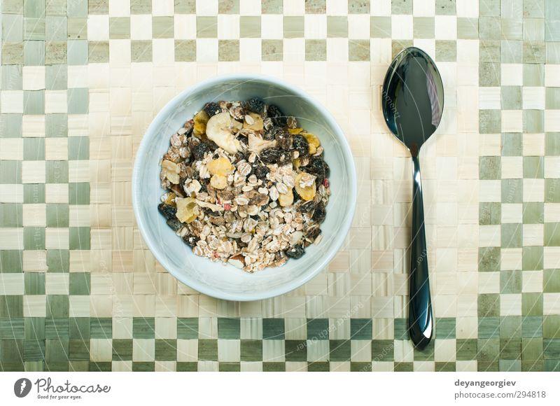 Energie Tisch Ernährung Frühstück Mahlzeit Schalen & Schüsseln Diät Weizen getrocknet Dessert horizontal Löffel Vegetarische Ernährung Banane knackig Snack