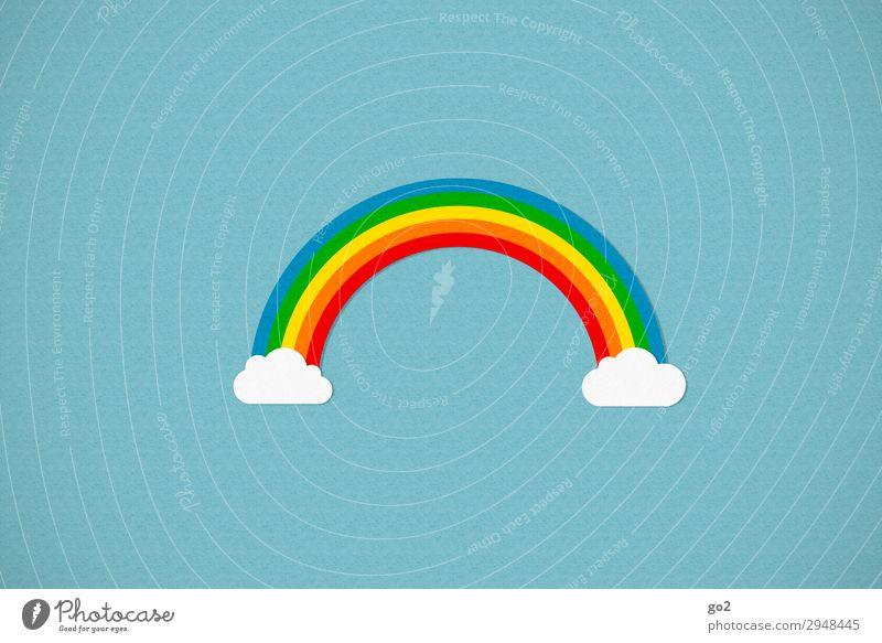 Regenbogen Wolken Klima Wetter Schönes Wetter Zeichen ästhetisch außergewöhnlich Fröhlichkeit mehrfarbig Freude Glück Zufriedenheit Lebensfreude