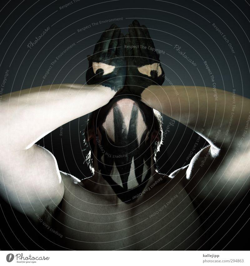 lunchtime Mensch Mann Hand nackt Tier schwarz Gesicht Erwachsene dunkel Auge Farbstoff außergewöhnlich maskulin wild Wildtier Mund