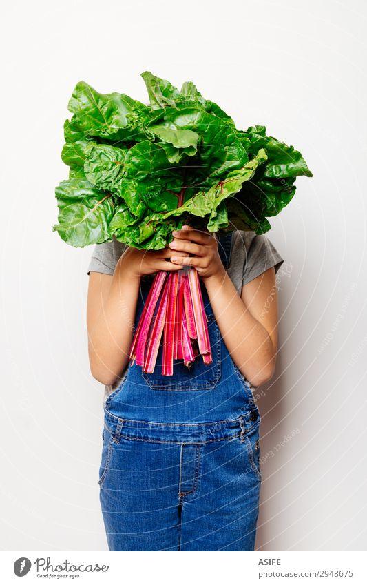 Kind grün weiß rot Blatt natürlich Ernährung frisch Gemüse Vegetarische Ernährung Diät Vegane Ernährung Landwirt Jeansstoff Entwurf Zutaten