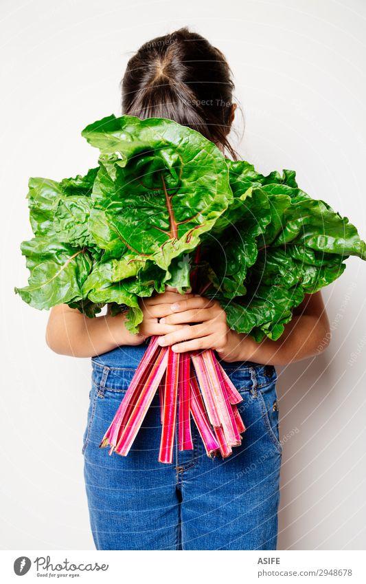 Liebe zum Gemüse Ernährung Vegetarische Ernährung Diät Kind Blatt frisch natürlich grün rot weiß Mangold Schweizer Mangold Regenbogen Mangold Vegane Ernährung
