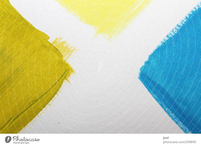 green and blue - face to face blau grün weiß gelb Farbstoff Kunst Papier Gemälde eckig Dreieck Farbenspiel Acrylfarbe Gegenüberstellung Pinselstrich