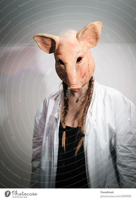 schweinerei Karneval Halloween Mensch feminin Junge Frau Jugendliche Erwachsene 1 Schutzbekleidung brünett blond langhaarig Zopf gruselig trashig verrückt