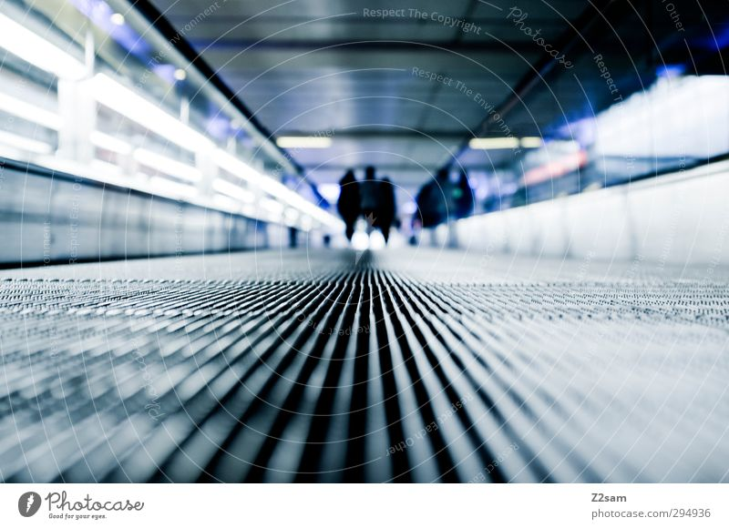 Goodbye! Ferien & Urlaub & Reisen Tourismus 3 Mensch Architektur Rolltreppe rennen gehen laufen dunkel Ferne kalt modern Pünktlichkeit Stress Beginn Bewegung