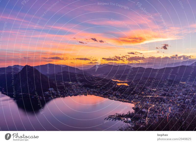 Sonnenuntergang über dem Lago di Lugano II Ferien & Urlaub & Reisen Tourismus Freiheit Berge u. Gebirge Natur Sonnenaufgang Schönes Wetter Alpen See