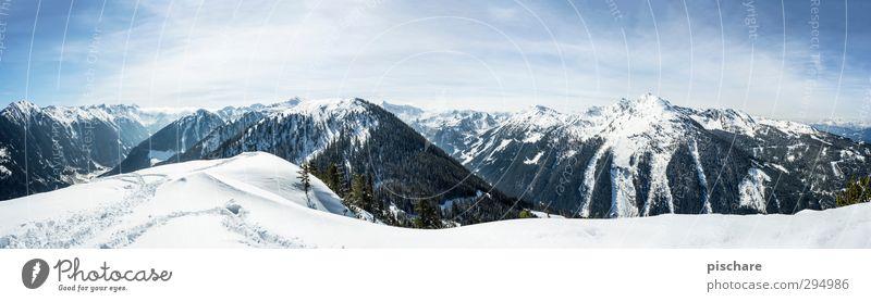 das letzte winterbild blau Landschaft Winter Berge u. Gebirge Schnee Schönes Wetter Abenteuer Schneebedeckte Gipfel