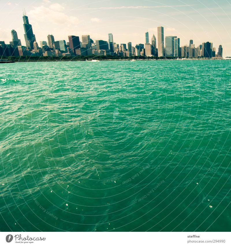 riverside Wasser Schönes Wetter Seeufer Michigan See Chicago USA Stadt Skyline Hochhaus Mauer Wand außergewöhnlich Ferien & Urlaub & Reisen Farbfoto