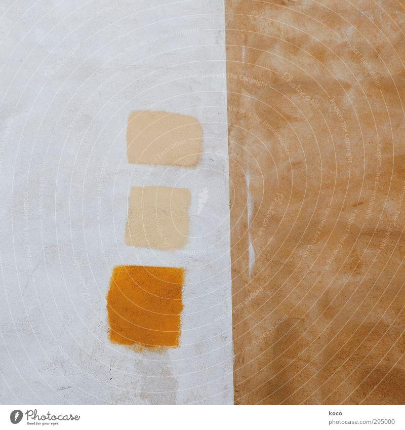 drei VIERecke Mauer Wand Fassade Quadrat Rechteck rechtwinklig Linie eckig einfach niedlich braun gelb orange weiß Partnerschaft gleich Ordnung Farbfoto